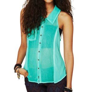 Free People Sheer Collared Button Up Tank Seaglass